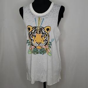 Chaser Tiger Vintage Distressed Tank Top NWT